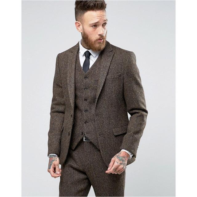 2017 Custom Made brown Tweed Suit Mens Formal Skinny Wedding .