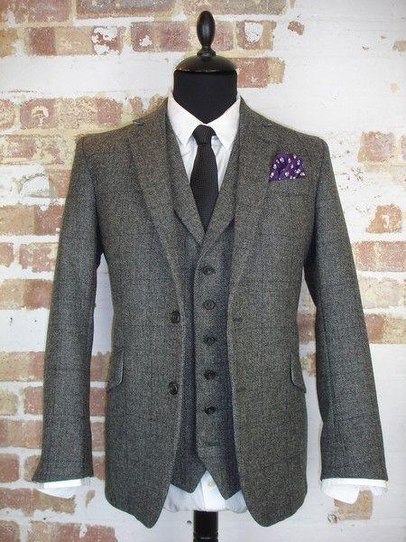 3 Piece Grey Tweed Wedding Suit   Tweed wedding suits, Grey tweed .