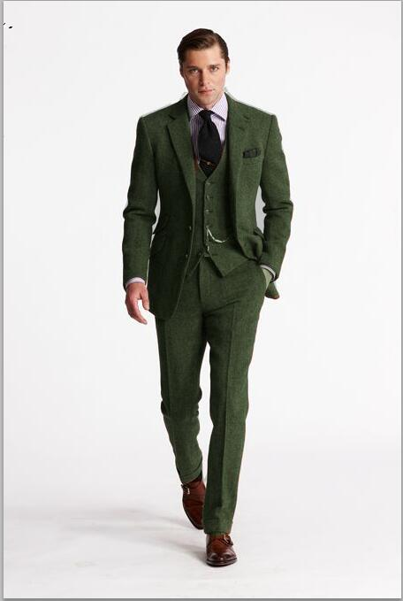 Tailored Green Tweed Suit Men Groom Blazer Slim Fit 3 Piece Tuxedo .