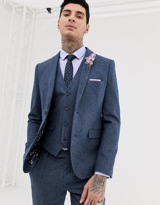 Harry Brown wedding wool blend slim fit summer tweed suit jacket .
