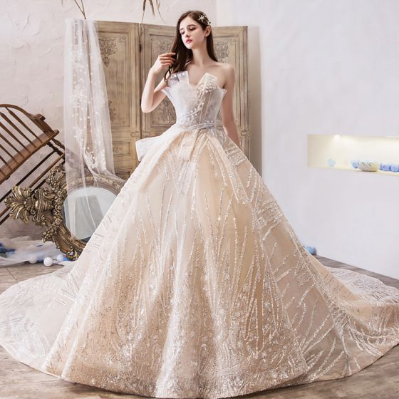 Bling Bling Champagne Wedding Dresses 2019 A-Line / Princess .