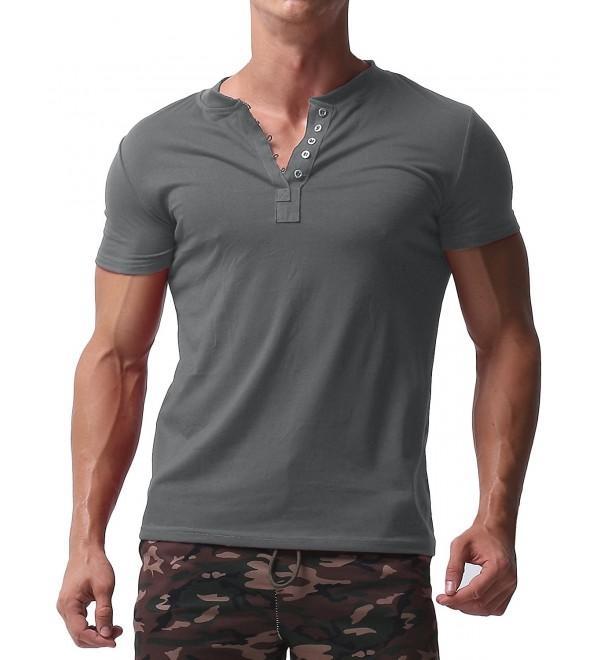 Men's Short Sleeve Shirts Button V Neck Tee Slim Fit Contrast .
