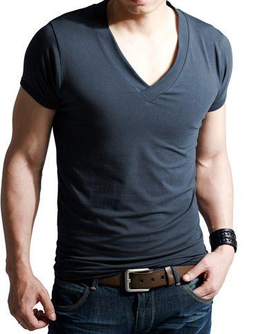 Men Modern Style Slim Fitted Deep V-Neck Short Sleeve T-Shirt .