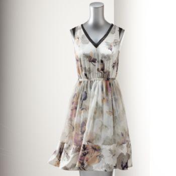 Simply Vera Vera Wang Floral Chiffon-Trim Dress - Women's .