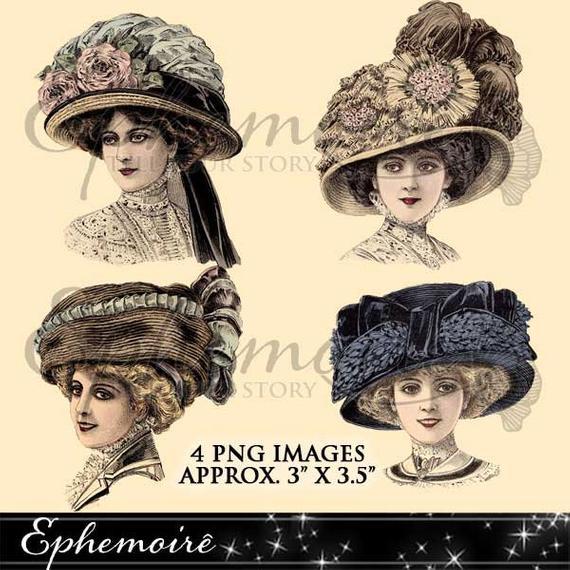 Digital Clipart Millinery Vintage Hats 1 Digital Images | Et