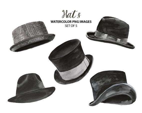 Watercolor retro hats clip art Vintage hats clipart | Et