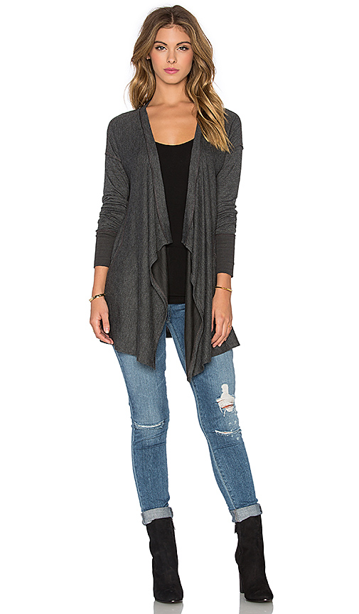 Splendid Alcove Double Face Jersey Waterfall Cardigan in Charcoal .