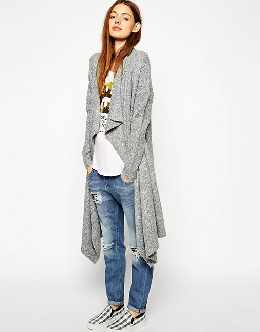 ASOS Longline Waterfall Cardigan in Chunky Knit | AS