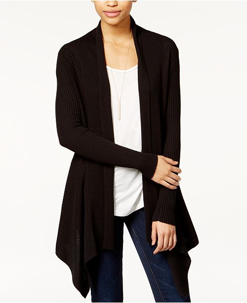 Bar III Ribbed Waterfall Cardigan, Created for Macy's & Reviews .