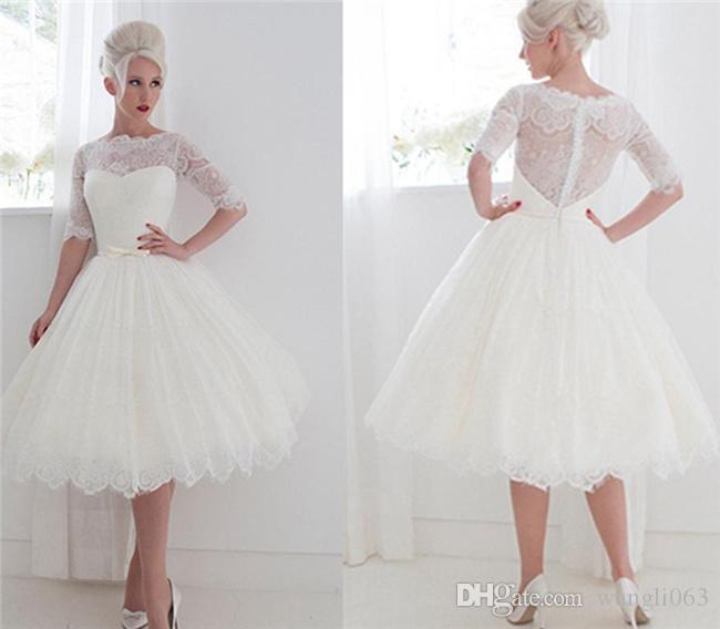 Discount 1950s Style Short Wedding Dresses Bateau Lace Ribbon .