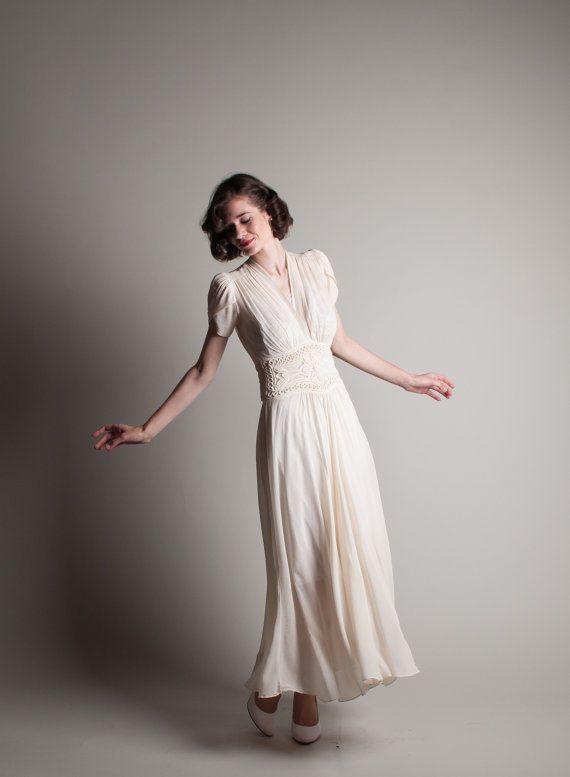 Vintage 1940s Chiffon Dress - 40s Wedding Dress - Dans le Vent .