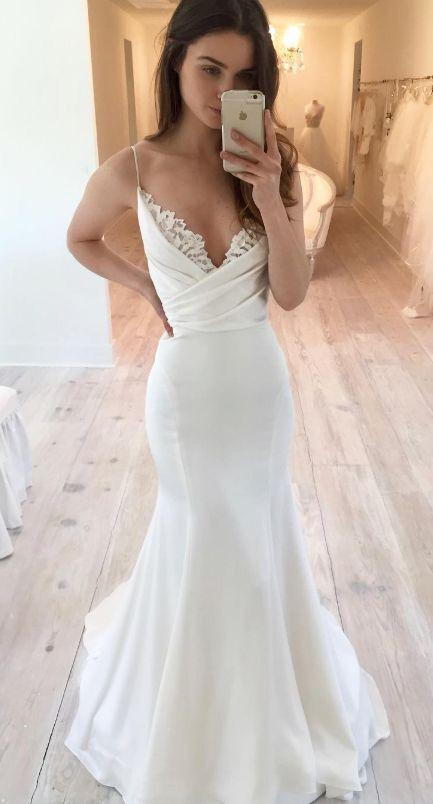 Simple Mermaid Spaghetti Straps Wedding Dress – daisystyledre