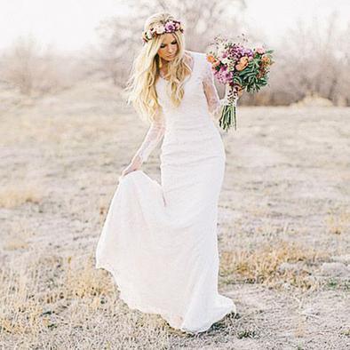 Lace Long Sleeves Bohemian Wedding Dress Beach Wedding Gowns .