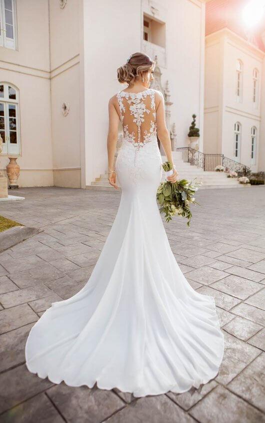 Lace and Chiffon Beach Wedding Dress with Illusion Bodice - Stella .