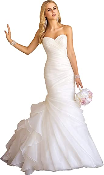 Women's Sweetheart Ruched Organza Bridal Gown Mermaid Wedding .