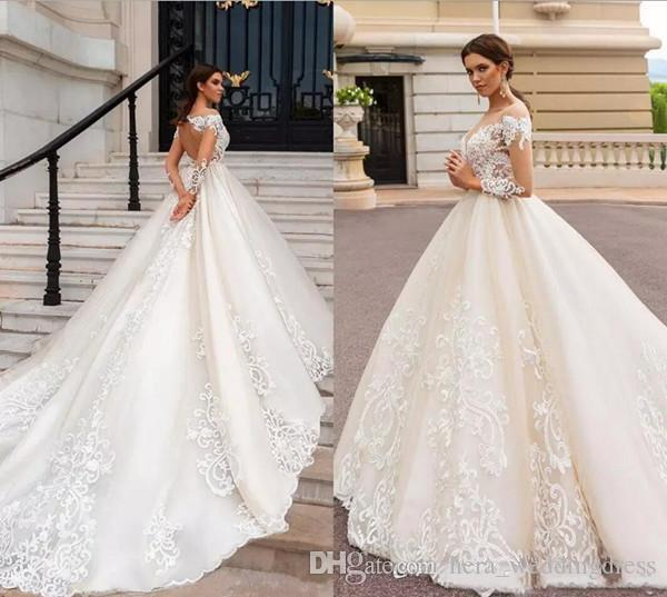 2020 Long Sleeve Ball Gown Wedding Dresses Sheer Neck Lace .
