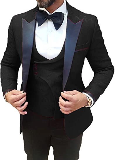 Everbeauty Mens Wedding Suit Prom Tuxedo Slim Fit 3 Piece Groom .