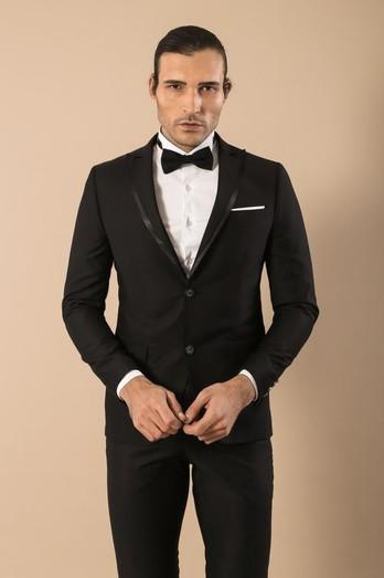 2-Piece Men's Black Wedding Suit   Cl