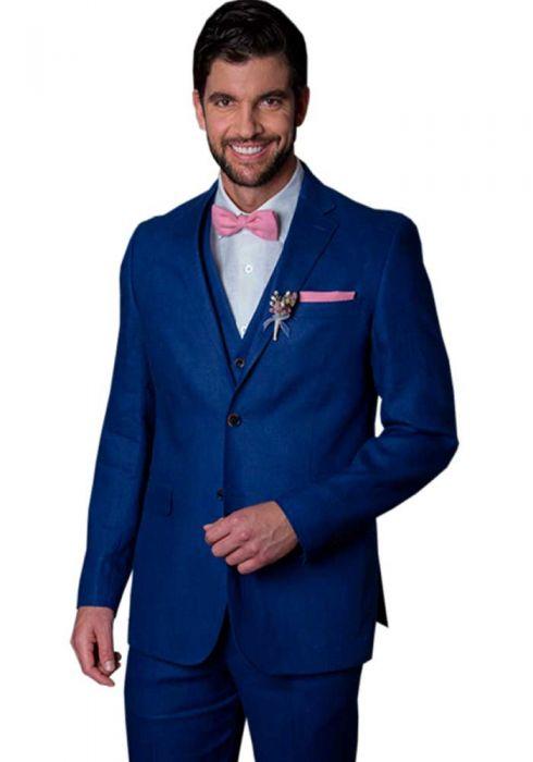 Linen Suit Navy Blue. Wedding Suit. High Quali
