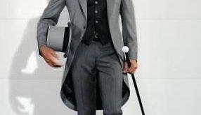 Men's Gray Formal Tailcoat 3 Piece Suit Groom Tuxedos Suit Wedding .