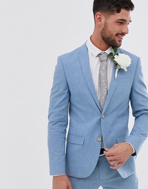 River Island wedding suit jacket in blue linen   AS