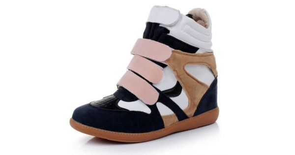 Blue Pink Suede High Top Velcro Tapes Hidden Wedges Sneakers Sho