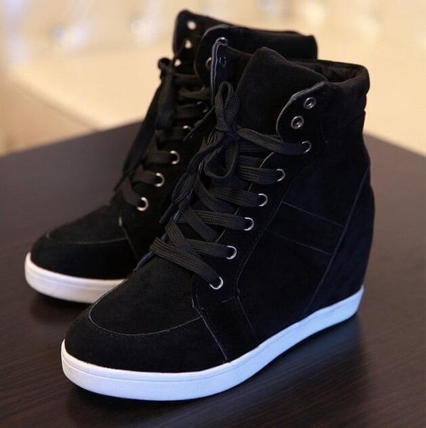 New Womens Fashion Wedge Sneakers Hidding Heels Black Red Tennis .