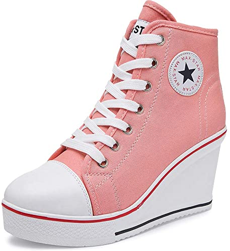 Amazon.com | High Heel Canvas Wedge Sneakers - Trendy & Comfy .