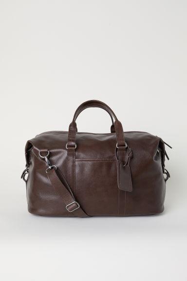 Leather weekend bag - Dark brown - Men   H