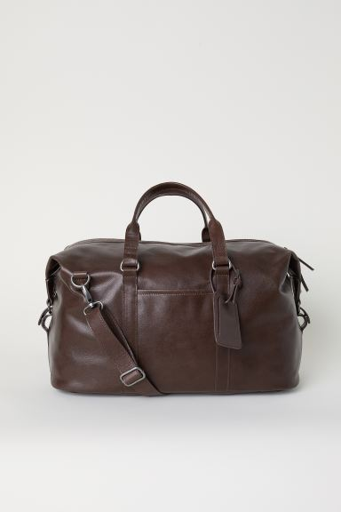 Leather Weekend Bag - Dark brown - Men   H&M