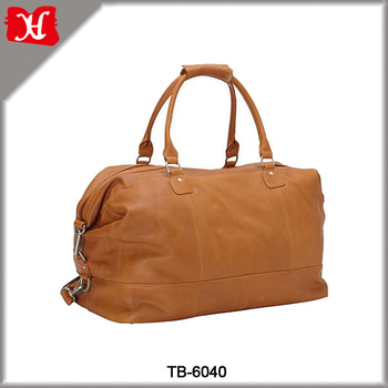 High Quality Orange Leather Travel Bag Overnight Duffel Bag Women .