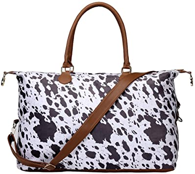 Amazon.com | Cow Print Weekender Duffle Bag For Women Travel Tote .