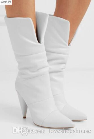 Charm2019 Pop Point Toe Ankle Boots White Boots Women Spike Heel .