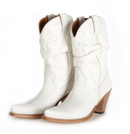 Low cut leather cowboy boots High quality white leather boo