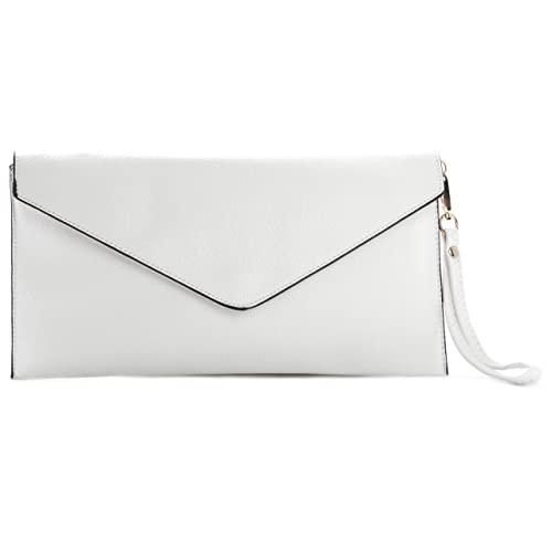 White Leather Clutch Bag: Amazon.co.