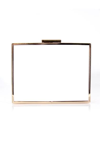 White Box Clutch bag with Gold Detail – AX Par
