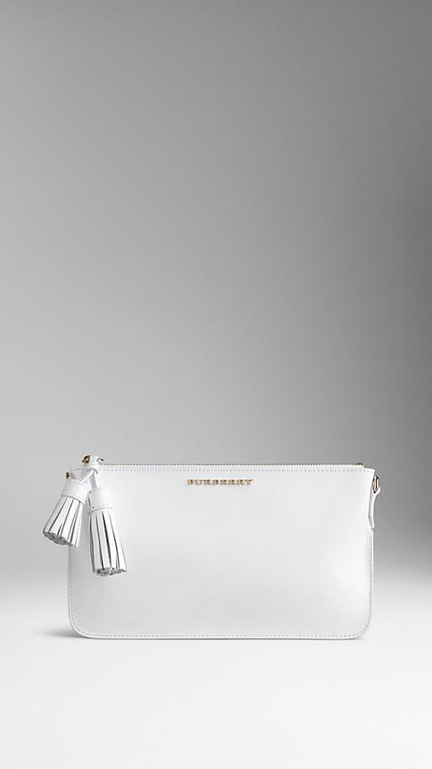 Burberry Patent London Leather Tassel Clutch Bag, $650 | Burberry .