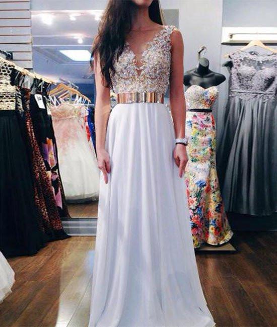 A Line Gold Belt White Lace Prom Dresses, White Formal Dresses .
