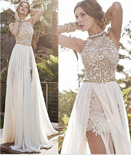A Line High Neck Backless White Lace Prom Dresses, Long Backless .
