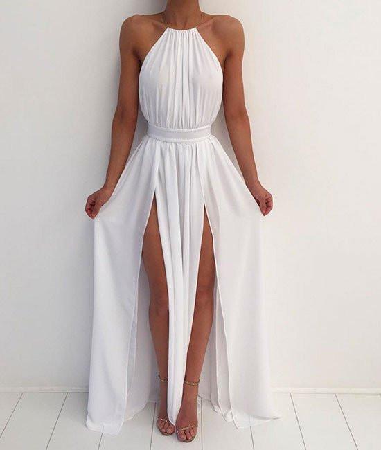 A Line High Neck Backless White Prom Dresses, White Formal Dresses .