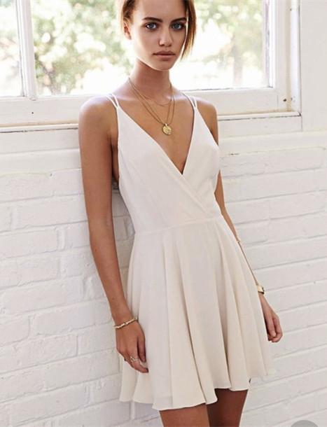 A Line V Neck Short White Prom Dress, Short White Formal Dress .