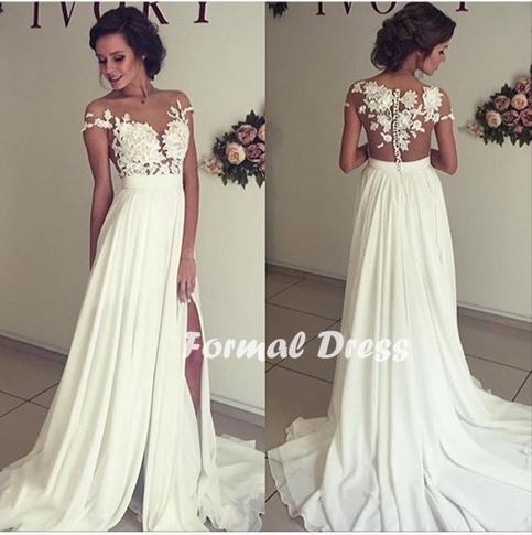 Formal Dress | Elegant white prom dress,A-line chiffon lace long .
