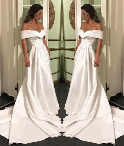 Elegant Off Shoulder White Satin Long Prom Dresses, White Off .