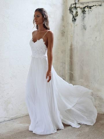 A Line Spaghetti Straps Backless Lace White Beach Wedding Dresses .
