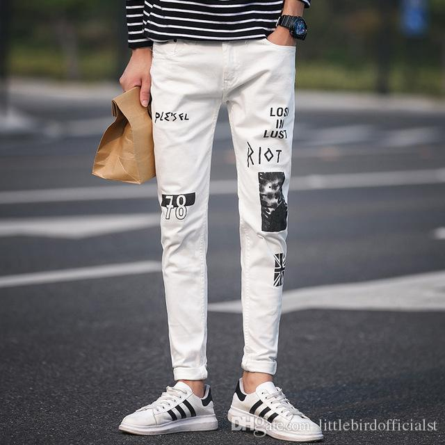 2019 2018 New White Jeans Men Korean Slim Fit Fashion Print Mens .