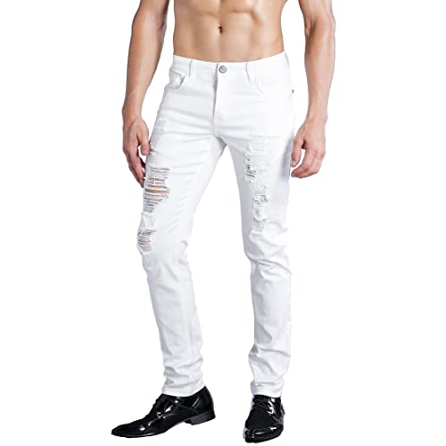 Men's Jeans White Slim Fit: Amazon.c