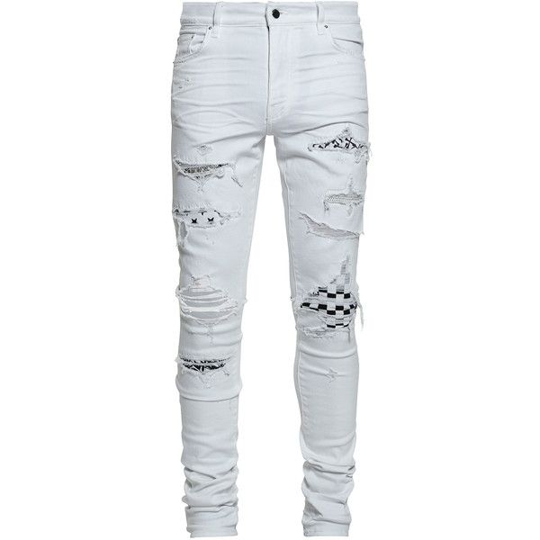 Amiri Art Patch Jeans ($1,290) ❤ liked on Polyvore featuring .
