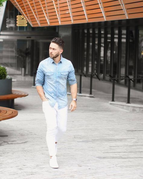 How to Wear White Jeans - Men's Style Guide | White jeans outfit .