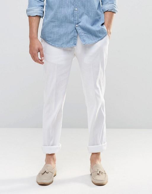 ASOS Skinny Pants In White Linen   AS