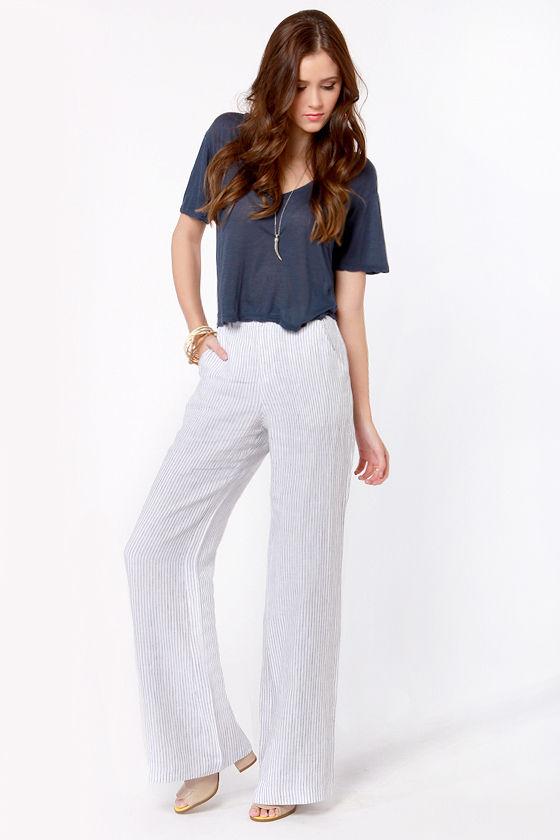 Lightweight Striped Pants - Linen Pants - Wide Leg Pants - High .